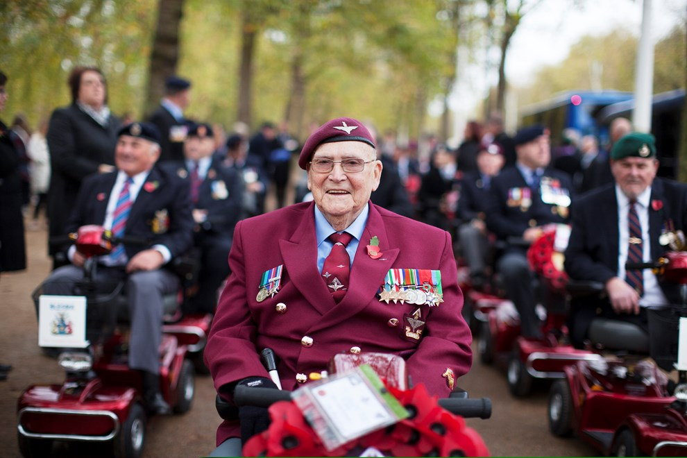 Jim Chittenden Leading The Blesma Members Parade Remembrance Day 2017